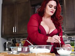 Mouthwatering BBW Alexa Grey is making love with their way husband on the kitchen table